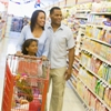 Minority Family in Grocery Store