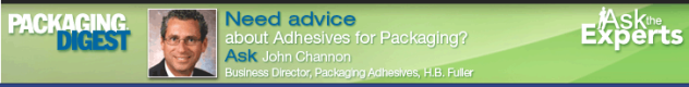 promotion for packaging digest's meet the expert John Channon, packaging adhesive expert