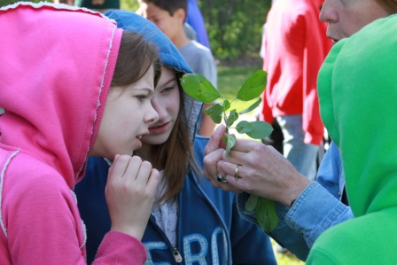 H. B. Fuller Nature preserve director shares a buck-thorn leaf with students