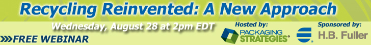 Banner Ad for free webinar hosted by H.B. Fuller and Packaging Strategies