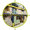 Image of bags on pallets in warehouse