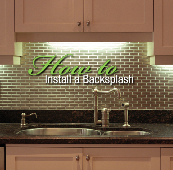 "A beautiful sink area with a green tile backsplash is the background image for the words ""How to install a backsplash."