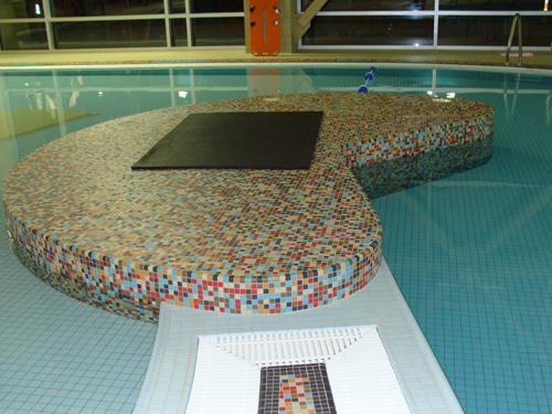 A very complicated mosaic swimming pool tile installation using TEC installation products