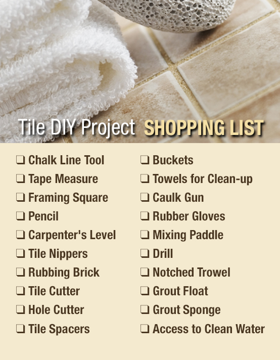 A shopping list of what tile installation materials to buy for your shower tile installation project.